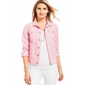 Talbots Women Pink Gingham Classic Denim Jacket Size M Petites Button Front